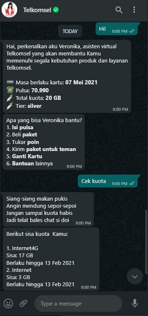 Cara Kerja Telkomsel Veronika Via Whatsapp